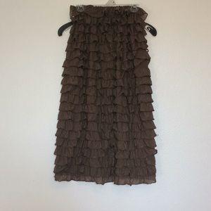 Dresses & Skirts - Brown ruffled skirt!